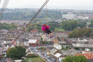 Insight Law marketing manager Louise Lewis from Machen abseils from the Transporter Bridge in Newport to raise money for St David's Hospice